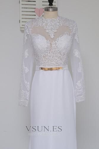 Vestido de novia Satén Elástico Mangas Illusion Hasta el suelo Corte Sirena - Página 6