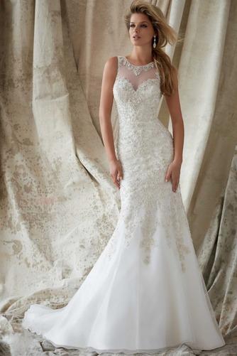 Vestido de novia Organza Pura espalda Sala Joya Abalorio Natural - Página 1