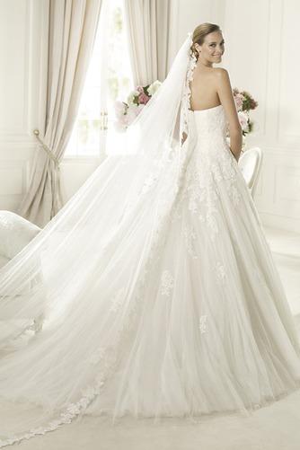 Vestido de novia Formal Sin mangas Encaje tul Escote Corazón Corte-A - Página 2