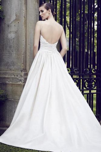 Vestido de novia Sin mangas Satén Cola Capilla Natural Otoño Bolsillos - Página 2