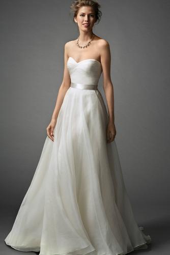 Vestido de novia Verano tul Escote Corazón Sin mangas Plisado Cola Barriba - Página 1