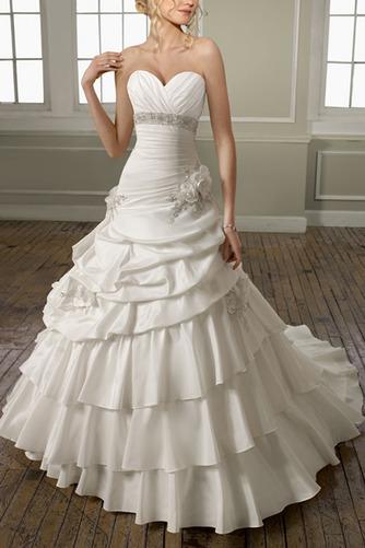 Vestido de novia Iglesia Formal Satén Flores Sin mangas largo - Página 1