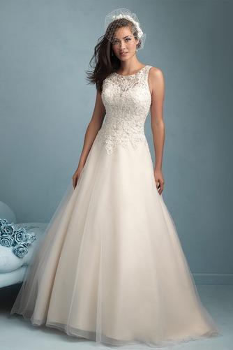 Vestido de novia Modesto Cremallera Otoño Natural largo Sin mangas - Página 1