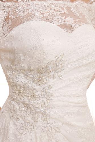 Vestido de novia Playa Encaje Cremallera Mangas Illusion Hasta la Rodilla - Página 3