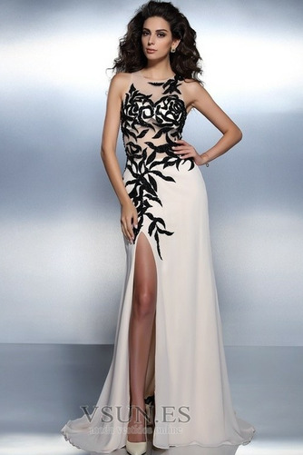 Vestido de noche largo Bordado Elegante Corte-A Cremallera Natural - Página 1