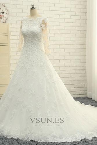 Vestido de novia Abalorio Corpiño Acentuado con Perla Pura espalda Natural - Página 3
