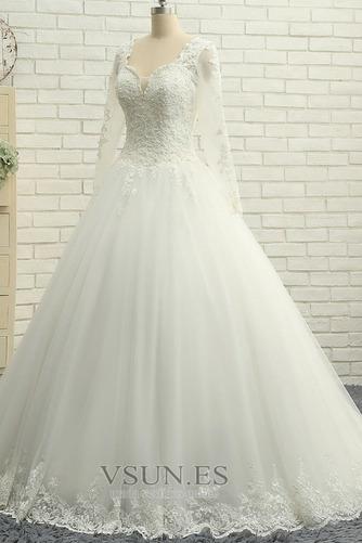 Vestido de novia Cordón Natural Encaje Manga larga Hasta el suelo Verano - Página 3