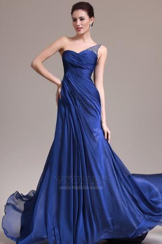 Vestido de noche Sin mangas Elegante azul medianoche Pura espalda Un sólo hombro - Página 1
