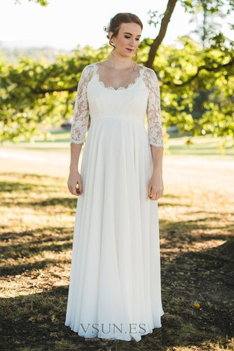 Vestido de novia Encaje Embarazadas Escote redondo Gasa Mangas Illusion - Página 1