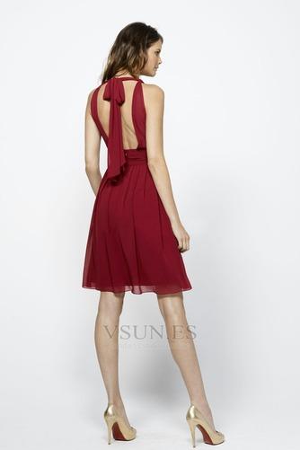 Vestido de dama de honor Natural Rojo Oscuro Hasta la Rodilla Corte Recto Glamouroso - Página 2