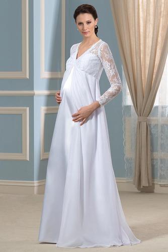 Vestido de novia Imperio Cintura Hasta el suelo Plisado Escote en V - Página 2