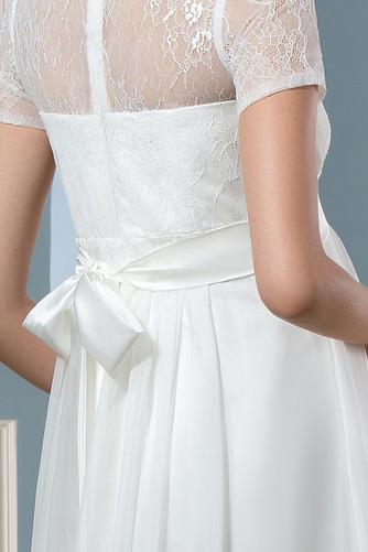 Vestido de novia Camiseta Pura espalda Tallas grandes Joya Manga corta - Página 4
