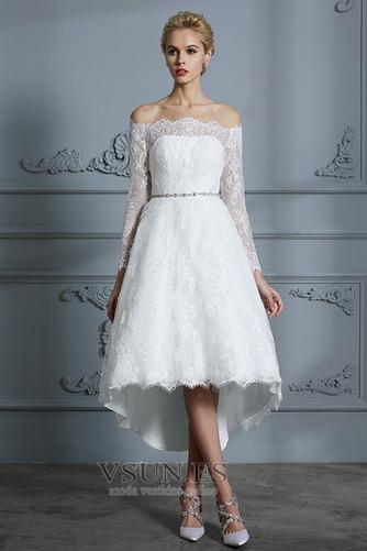 Vestido de novia Botón Moderno Pera Manga larga Asimétrico Dobladillo - Página 3