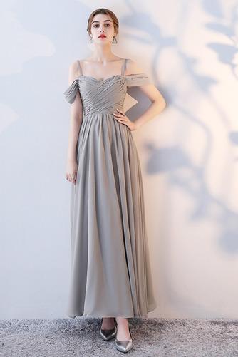 Vestido de dama de honor Natural Corte-A Blusa plisada Escote en V Sin mangas - Página 3