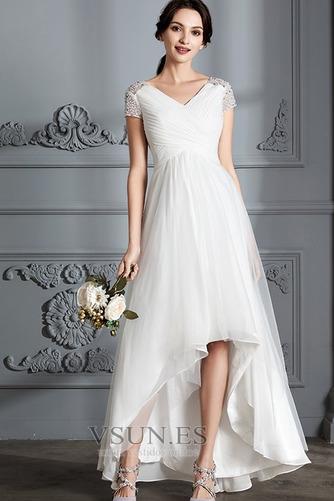 Vestido de novia Verano Manga corta Falta Asimétrico Dobladillo Plisado - Página 1