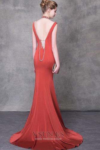 Vestido de noche Natural Elegante Otoño Escote con cuello Alto Satén - Página 2