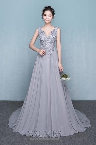 Vestido de dama de honor Encaje Natural Corte-A Falta primavera Elegante - Página 1