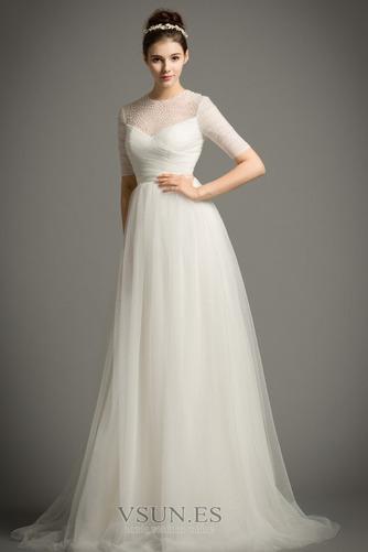 Vestido de novia Drapeado Natural primavera Corte-A Joya Cremallera - Página 4