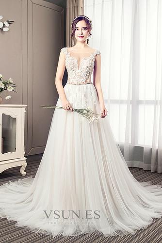 Vestido de novia Elegante Cola Barriba Verano Escote en V Capa de encaje - Página 1