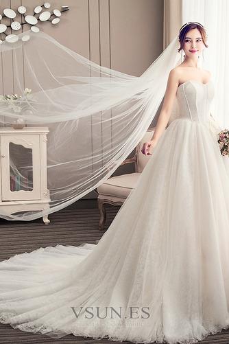 Vestido de novia Elegante Sin mangas Cola Corte Satén Corte-A Apliques - Página 3