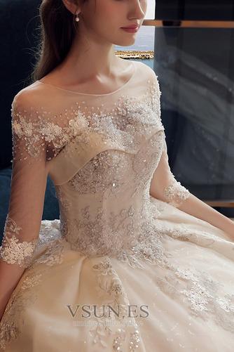 Vestido de novia Falta Satén Cordón Hasta el suelo Barco Bordado - Página 4