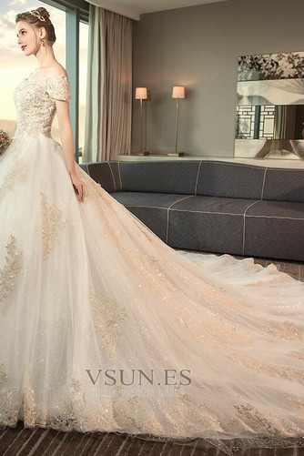 Vestido de novia largo Reloj de Arena Sala Apliques Cordón Invierno - Página 4