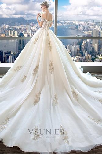 Vestido de novia Escote con Hombros caídos Falta Bordado Manga tapada - Página 2