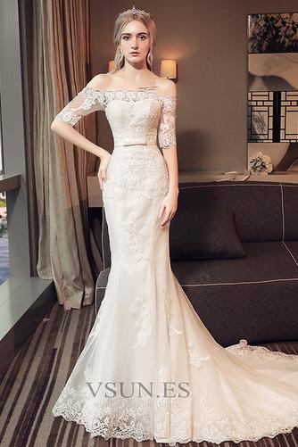 Vestido de novia Natural La mitad de manga Cordón Arco Acentuado Corte Sirena - Página 1