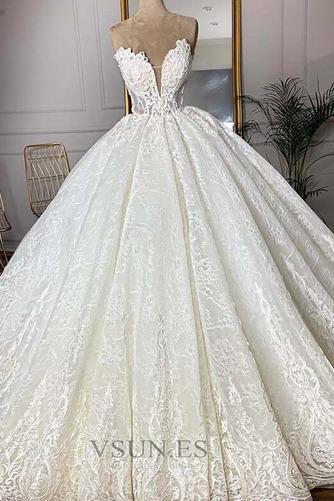Vestido de novia Sala Capa de encaje Hasta el suelo primavera Tallas grandes - Página 1