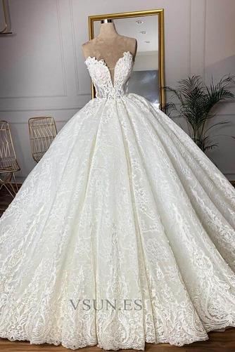 Vestido de novia Sala Capa de encaje Hasta el suelo primavera Tallas grandes - Página 3