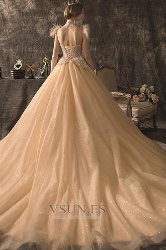 Vestido de novia primavera Cordón Cola Catedral Apliques Manga corta - Página 2