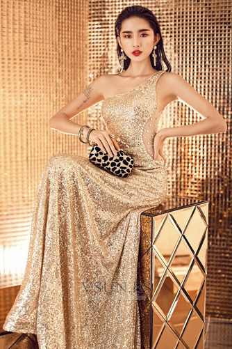 Vestido de fiesta largo Con lentejuelas Estrellado Corte Recto Espalda Descubierta - Página 3