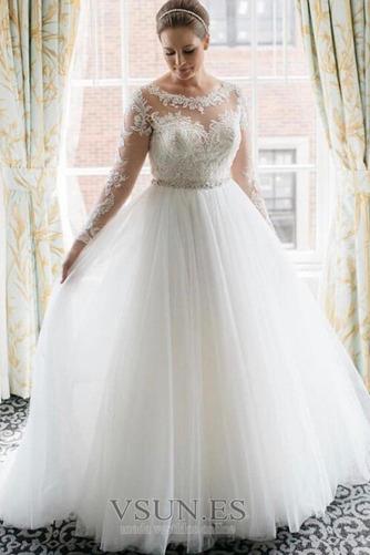 Vestido de novia Cremallera Mangas Illusion Otoño Corte-A Natural largo - Página 1