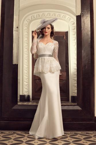 Vestido de novia Cola Barriba Escote Corazón Cordón Mangas Illusion - Página 1