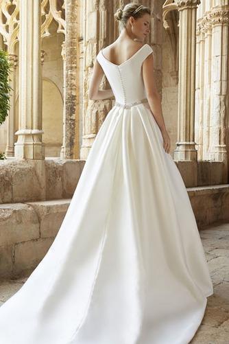Vestido de novia Natural Espalda medio descubierto Escote redondo Cola Capilla - Página 2