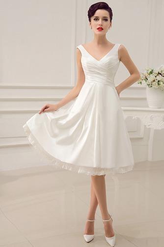 Vestido de novia Informal Sin mangas Escote en V Volantes Adorno Corte-A - Página 1