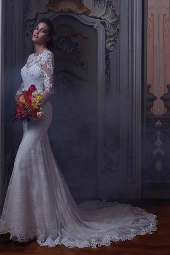 Vestido de novia Barco Sala Natural Mangas Illusion Otoño tul - Página 1