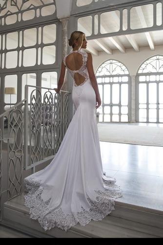 Vestido de novia Playa Cola Capilla Corte Sirena sexy Satén Elástico - Página 2