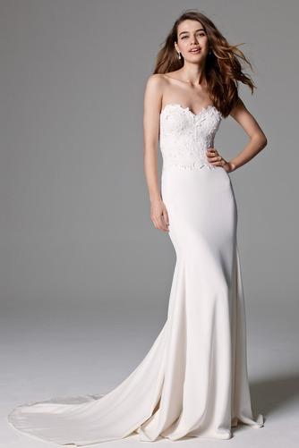 Vestido de novia largo Encaje Corte Recto Escote Corazón Abalorio Natural - Página 1