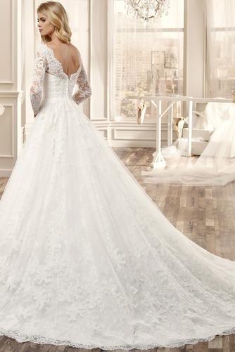 Vestido de novia Espalda medio descubierto Bola Natural Apliques Sala - Página 2