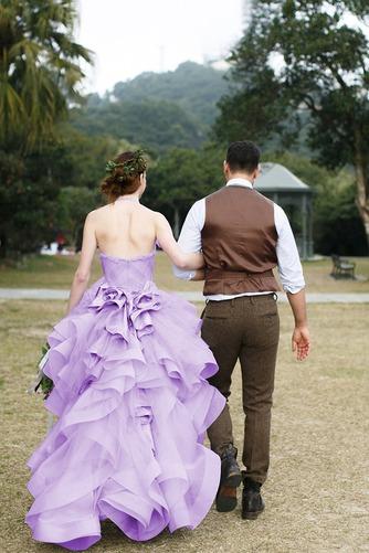 Vestido de novia Asimétrico Dobladillo Romántico Corte-A Escalonado - Página 6