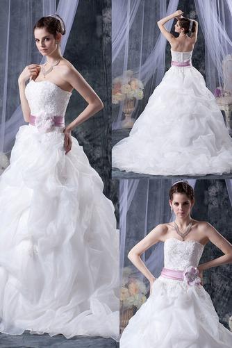 Vestido de novia Sin tirantes Corte-A Iglesia largo Sin mangas Encaje - Página 1