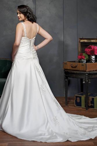 Vestido de novia Corte-A Cola Catedral Satén Sala primavera Escote en V - Página 2