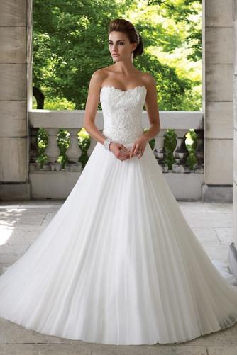 Vestido de novia largo Corte-A Iglesia Formal Sin mangas Organza - Página 1