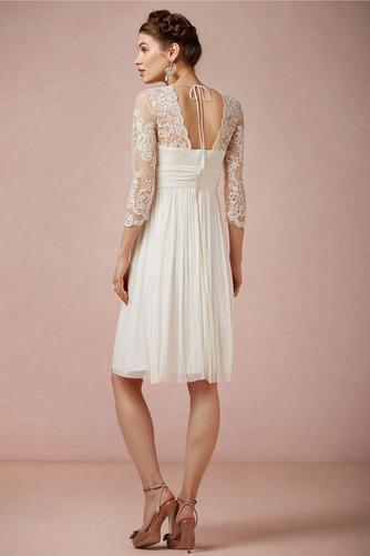 Vestido de novia Imperio Baja escote en V Glamouroso Gasa Verano Manga de longitud 3/4 - Página 2