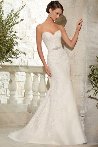 Vestido de novia Apliques Otoño Escote Corazón Encaje Sala Moderno - Página 1