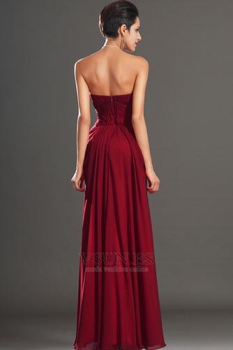 Vestido de noche Rojo Oscuro Sin tirantes Para Imperio Natural Cremallera - Página 6
