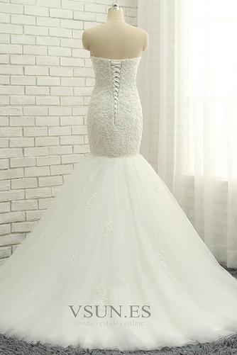 Vestido de novia Elegante Capa de encaje Apliques Sin mangas Corte Sirena - Página 2