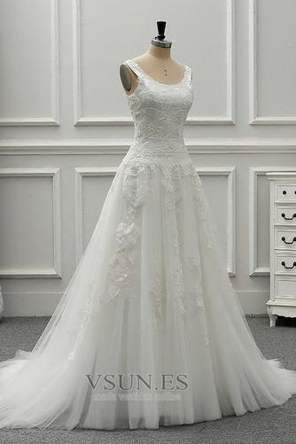 Vestido de novia vendimia Drapeado Corte-A Sin mangas Cola Catedral - Página 4