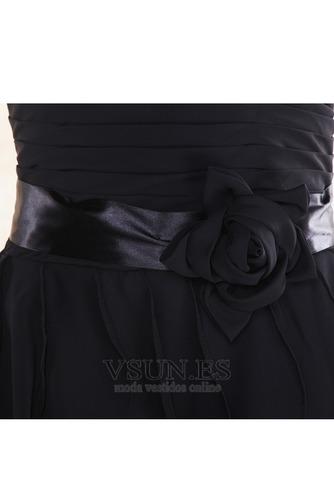 Vestido de dama de honor Gasa Flores gris oscuro Cremallera Escote Corazón Rectángulo - Página 5